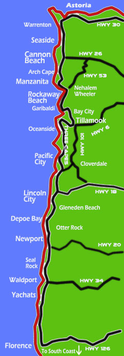 Oregon Coast Map And Mileage Chart Map Of Oregon Coast And