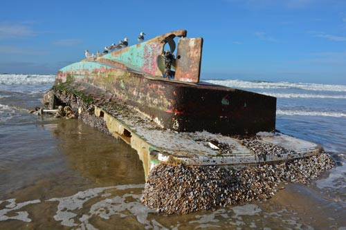 Japanese Fishing Boat Washes Up on N. Oregon Coast, near Cannon Beach