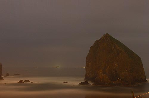Haystack Rock at night