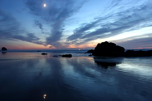 Cannon Beach and moonlight on water