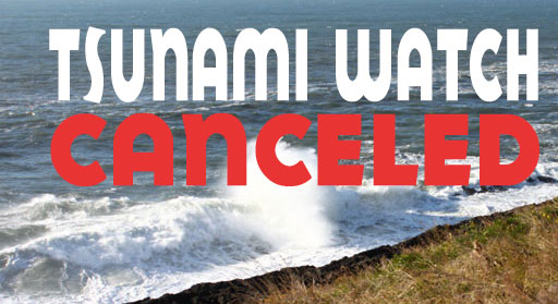 Tsunami Watch for Oregon Coast Canceled