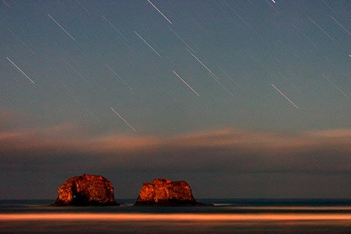 Photo: stars moving above Rockaway Beach