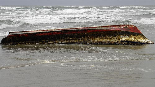 Tsunami debris boat in Florence, Oregon coast